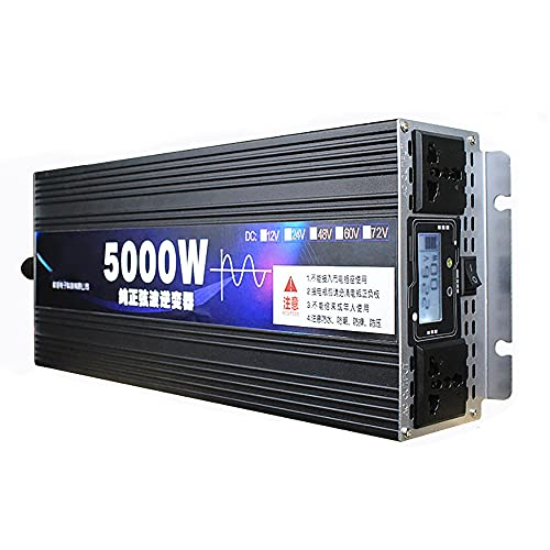 SATSAT Inversor De Onda Sinusoidal Pura, DC 12 V / 24 V / 48V / 60V / 72V A AC 220V Convertidor De Voltaje, Pico 3000W 4000W 5000W Transformador De Voltaje Inversor De EnergíA Solar,5000W-72V