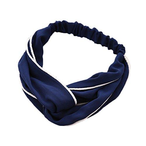 Demarkt 1 Pcs Femme Bandeau Cheveux en Tissu Mignon Bande Bowknot Bande Headband Elastique Extensible Hairband Pour Fille Cheveux Sport Jogging Yoga Maquillage Accessoire (bleu marin)