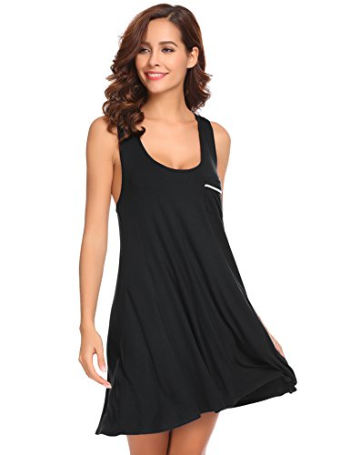 Ekouaer Women? Nightgown Full Slip Chemise Racerback Tank Dress Sleepwear (8379 Black, L)