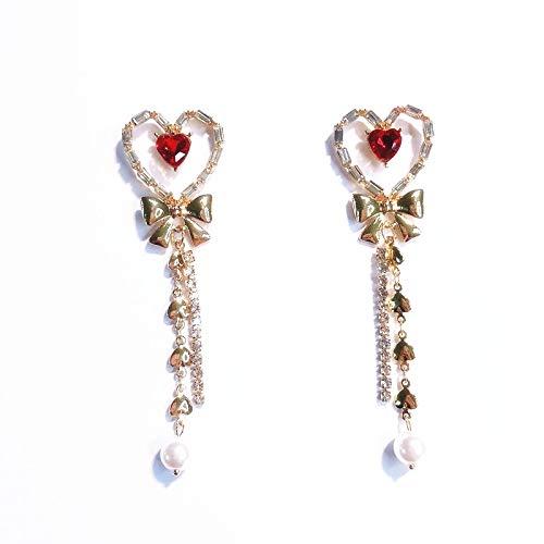 Orecchini a bottone in argento 925 con rubini a forma di rubino e diamanti