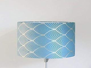 abat-jour art déco géométrique bleu et argent Luminaire diamètre personnalisé cylindre rond idée cadeau anniversaire décor...