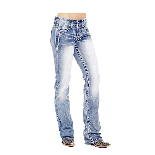 Women's Curvy Bootcut Jeans Fit Mid Rise Jean Stretch Boot Cut Denim Pant with Pockets Skinny Long Pants (X-Large,Light blue)
