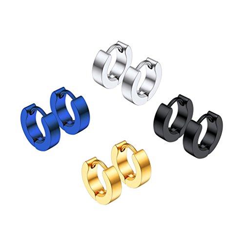 PROSTEEL Unisex Ohrschmuck Edelstahl Huggie Creolen Klappcreolen Ohrringe 3mm Breit Ohr Piercing Zubehören Gold Silber Schwarz Blau 4 Farben(4 Paar-Set)