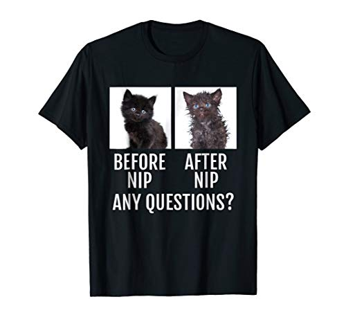 Before Nip After Nip Any Questions Funny Catnip Shirt