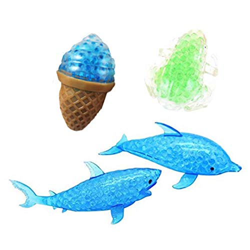4 Pcs Novelty Bead Filled Stress Fruit Ball Hand Wrist Squeeze Shark Dolphin Frogs Ice Cream Bubble Rubber Colorful Beads Squeezing Relief Funny Vent Adult Kids Toy GiftRandom Color