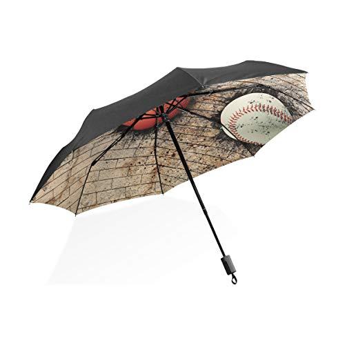 Übergroßen Regenschirm Winddicht Fußball Basketball Baseball Beige Backsteinmauer Tragbare Kompakte Taschenschirm Anti Uv-Schutz Winddicht Outdoor Reise Frauen Umgekehrter Regenschirm Für Frauen