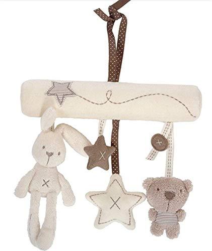 Hangqiao Bebé Mignon música de peluche para cochecito de bebé juguetes de peluche conejo colgante de en forma de estrella