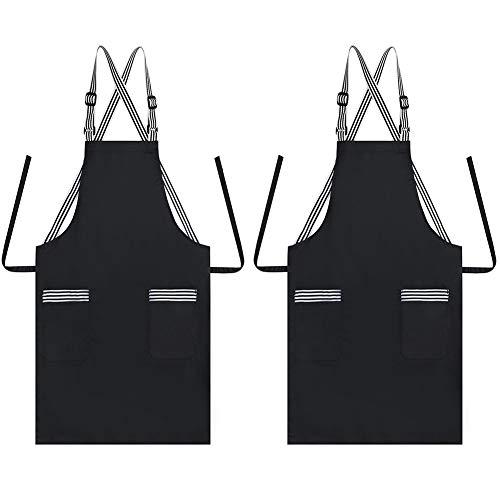JSDing Grembiule Cucina Cinghie Regolabili con 2 Tasche, Cotone Lungo Grembiuli da Cucina Donna Uomo per Casa, Ristorante, Bar, Caffetteria, Barbecue,