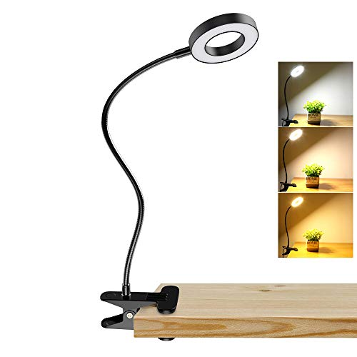 DLLT 6W Dimmable Clip on Light, USB Book Reading Light, Color Changeable Night Light Clip on for Desk, Bed Headboard, Makeup Mirror, Dorm Room, Computer, Piano Lighting, 15 Brightness (Black)