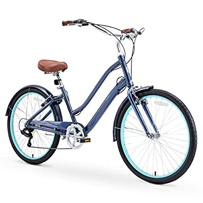 """sixthreezero EVRYjourney Women's Casual Edition 7-Speed Cruising Hybrid Bike w/Integrated Cable Lock, 26"""" Bicycle, Navy with Brown Seat and Brown Grips"""