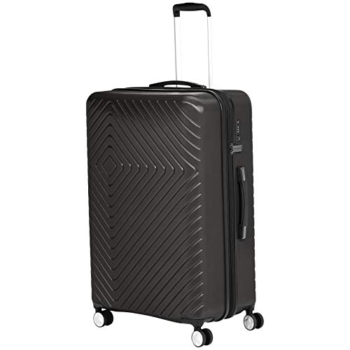 AmazonBasics Geometric Travel Luggage Expandable Suitcase Spinner with Wheels and Built-In TSA Lock, 31.3-Inch - Black
