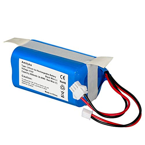 Amityke RVBAT700 RVBAT850 Battery Compatible with Shark ION RV700 RV720 RV725 RV750 RV700_N, RV720_N RV725_N RV761 RV850 Model 14.8V 2.6Ah Rechargeable Battery with 2 Prong and 3 Prong