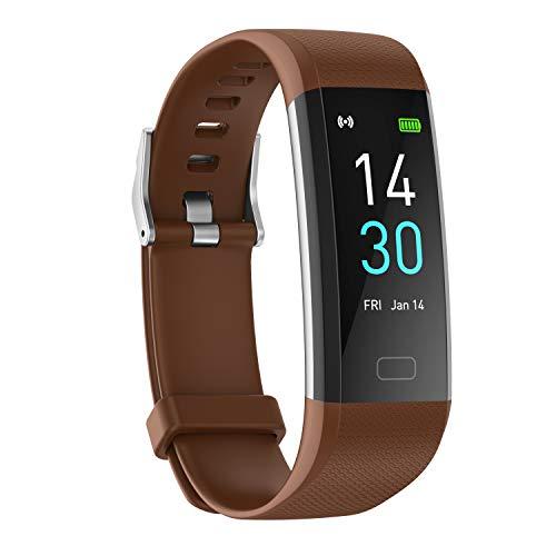 showyoo Reloj Deportivo de Frecuencia Cardíaca, Oxígeno en Sangre, Presión Arterial, Temperatura, Pulsera de Actividad Monitor Sueño, IP68 Reloj Inteligente Podómetro Calorías Smartwatch Hombr