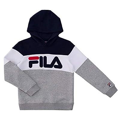 Fila Heritage Unisex Boys and Girls Kids Hooded Brushed Fleece Sweatshirt With Hood (Medium, Grey Heather Color Block)