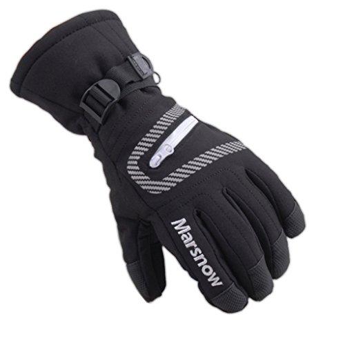 OMSLIFE Kinder Skifahren Handschuhe Skihandschuhe Kinder Schnee Handschuhe Outdoor Handschuhe Sport Handschuhe Winter Handschuhe für Kinder (schwarz, M (9-14 Jahre alt))