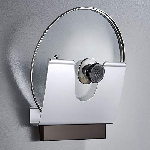 KINLO Topfdeckelhalter Pfannenhalter Multifunktions Topfdeckelhalter Wandmontage ohne Bohren Veranstalter Aluminium Matte Finish für Küche Küchen-Kochgerät-Werkzeug(Silber)