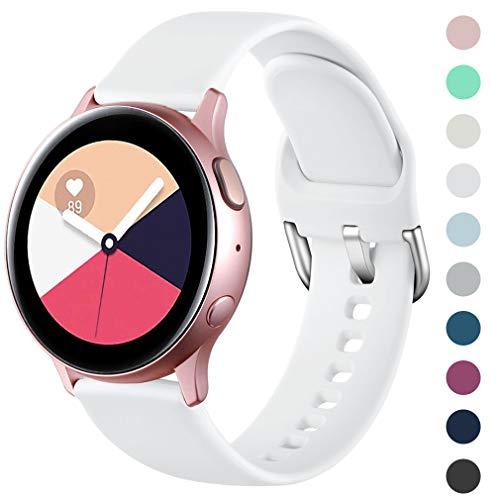 Wepro Armband Kompatibel mit Samsung Galaxy Watch Active/Active2 40mm/44mm, 20mm Weiche Silikon Ersatz Uhrenarmbänder Kompatibel mit Samsung Galaxy Watch 42mm/Gear S2 Classic/Gear Sport, Klein Weiße