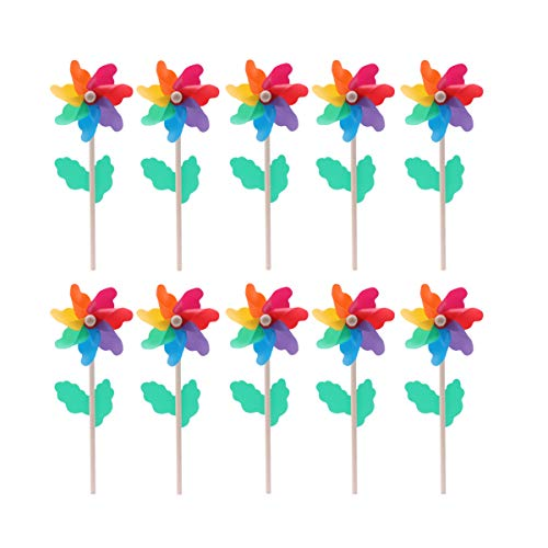 Hemoton 10PCS 12CM Kids Pinwheel Garden Spinning Windmill Colorful...