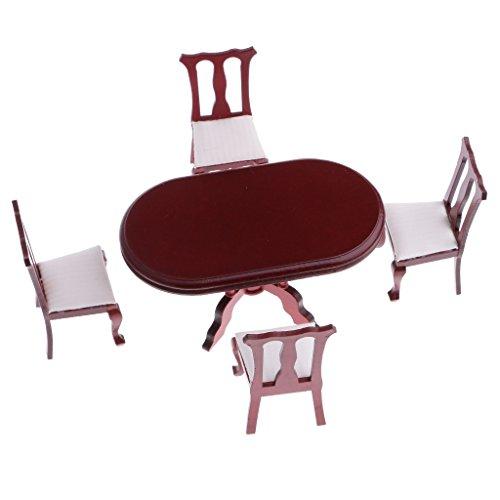 Gazechimp 1/12 Juego de Mueble de Comedor Mesa con 4 Sillas en Miniatura Accesorios de Casa de Muñecas