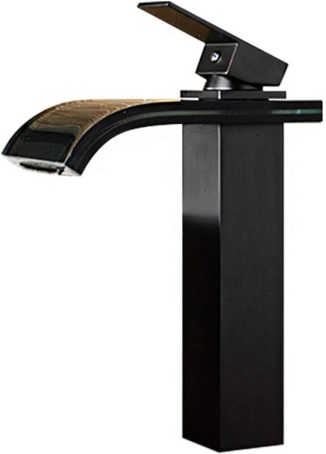 YHSGY Bathroom Sink Taps Copper Glass Orb Black Bronze Black Glass Waterfall Hot and Cold Wash Basin Faucet
