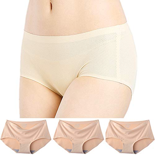 OUXBM Womens Underwear Seamless 3 Pack, No Show Panties for Women (3 Pack,Small,Nude)