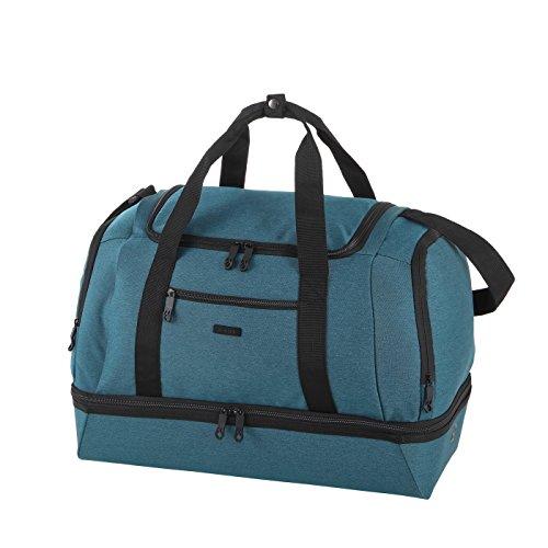 Rada Reisetasche/Sporttasche RT41/ mit Schuhfach, auswischbares Nassfach, große Wasserabweisende Fitnesstasche, für Damen und Herren, Jungen und Mädchen (Petrol 2tone Cognac)