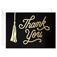 Hallmark 卒業式サンキューカード ブラックとゴールドのタッセル 封筒付き20枚