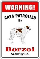 Patrolled By Borzoi 注意看板メタル安全標識注意マー表示パネル金属板のブリキ看板情報サイントイレ公共場所駐車ペット誕生日新年クリスマスパーティーギフト