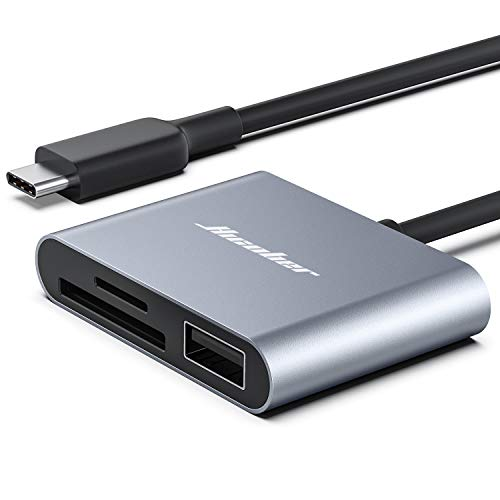 Hicober USB C to SD Card Reader, Micro SD Memory Card Reader, Type C to SD Card Reader Adapter 2TB Capacity for MacBook CameraAndroid Windows Linux and Other Type C Device-Space Grey