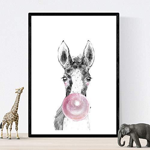 Lámina infantil Caballo bebe con chicle rosa Poster infantil Tamaño A4 Sin marco