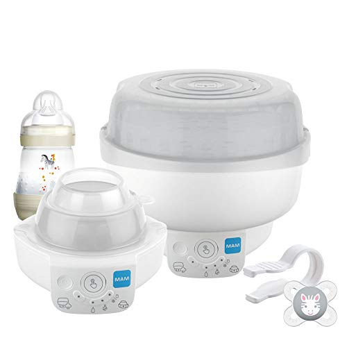 MAM Electric Baby Bottle Steriliser & Express Bottle Warmer; with 6 Functions – includes 1x 160 ml Easy Start Anti-Colic Bottle & 1x MAM 0-2 Months Start Soother