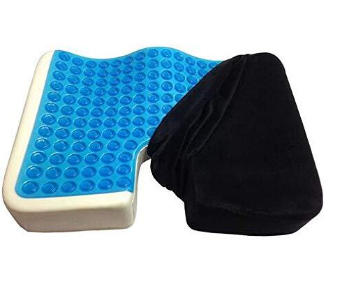 HYSM Rutschfestes Kissen aus Gel und Memory-Schaum für den Außenbereich, Massage-/Bürostuhl, verstärktes Kissen Schwarz