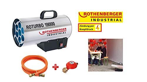 ROTHENBERGER 1500000051 Industrial Gas – Heiz – Kanone / Gebläse RoTurbo 19000 inkl. Piezo-Zündung, Schlauch und Regler, 18,2 kW
