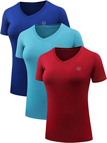 Neleus Women's 3 Pack V Neck Workout Clothes Compression Running Shirt,8016,Blue,Light Blue,Red,US L