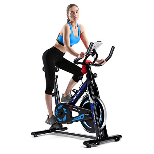 Goplus Exercise Bike, Indoor Cycling Bike w/ LCD Display, 5 Adjustable Height & Movable Seat, Belt Drive Stationary Bicycle for Home Office Cardio Workout