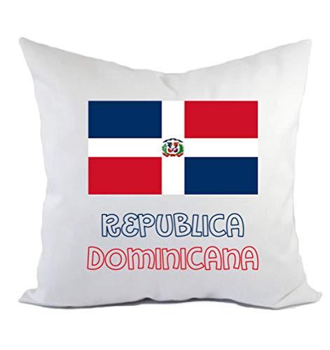 Typolitografie Ghisleri kussen Dominicaanse vlag en kussensloop en vulling 40 x 40 cm van polyester