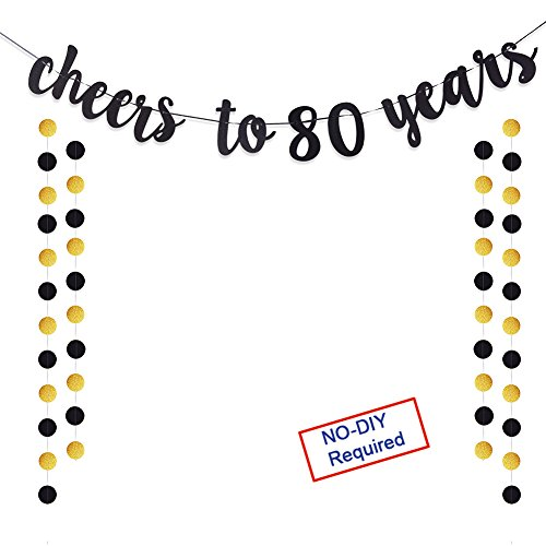 Cheers to 80 Years Gold Glitter Banner For Adult 80th Birthday Party Supplies Wedding Anniversary Party Decorations
