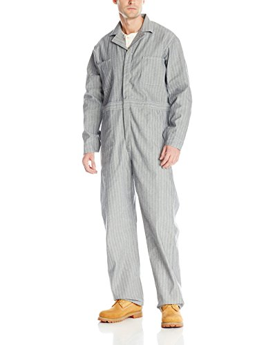 Red Kap Men's Snap Front Cotton Coverall, Oversized Fit, Long Sleeve, Herringbone, 38