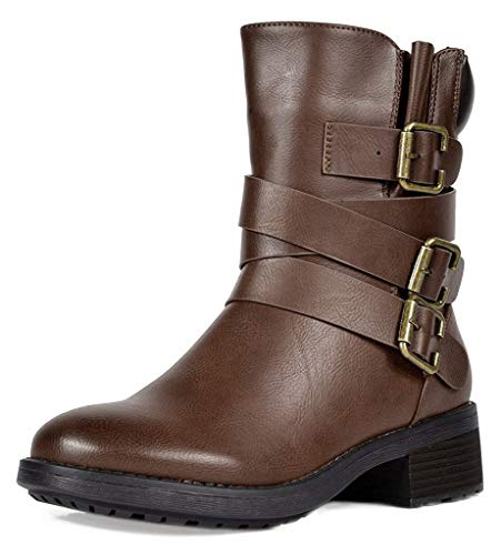 DREAM PAIRS Women's Strappy Brown Faux Fur Mid Calf Riding Combat Boots Size 5.5 M US