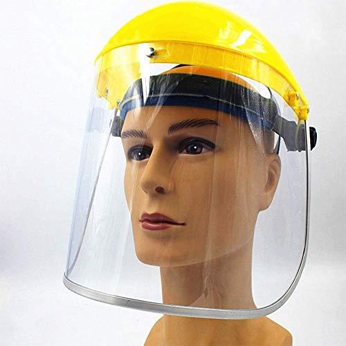 GPFDM Pantalla Facial Protectora De Tipo Casco - Pantalla De Protección De La Cabeza De Tipo Medio Casco Amarillo, PC Aislamiento Antimicrobiano A Prueba De Salpicaduras Pantalla Facial,5pcs