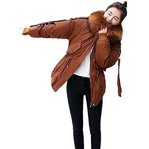 Riou Winterjacke Damen Mäntel Winter Warmer Hoodie Lange Strickjacke Steppjacke Parka Kapuzenjacke Frauen Mode Langarm Wollmantel New Daunen Baumwolle Beiläufig Kapuzenmantel Outwear (2XL, Braun)