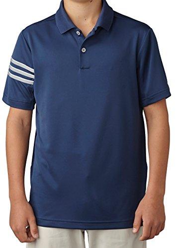 adidas Golf Boys Climacool 3 Stripes Polo Shirt, Dark Slate, Large