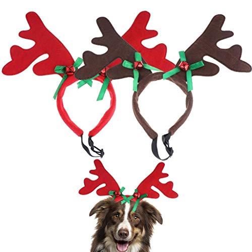 BraveWind Rentier-Geweih-Stirnband für Hunde, Elchgeweih mit Weihnachtsmannmütze, Halloween-Kostüm, Kopfbedeckung für Hunde und Katzen, Hirsch mit grüner Schleife, 2 Stück