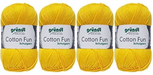 Gründl 4x50 Gramm Cotton Fun Woll Set SB Pack inkl. Anleitung für EIN Einkaufsnetz, Einkaufstasche mit Häkelnadel (04 Gelb)