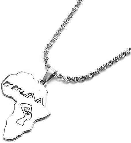 AOAOTOTQ Co.,ltd Halskette Edelstahl Afrika Karte mit ägyptischen Königin Nofretete Kamel Pyramide Anhänger Halsketten afrikanischen Schmuck Geschenke
