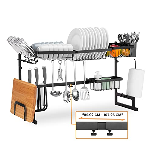 Befano Over Sink Dish Drying Rack, Adjustable (85.09-107.95 CM) Large Stainless Steel 2 Tier Expandable for Kitchen Countertop Space Save Storage Organizer Dish Rack Dryer With Utensils Holder Black