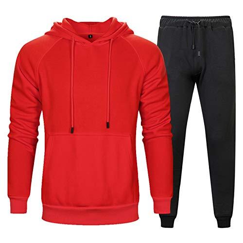 JX-PEP Sudadera con capucha y pantalones para correr, juego de ropa de 2 piezas, manga larga con capucha, gimnasio, deportes, chándal completo, parte superior de baloncesto, color rojo, XL