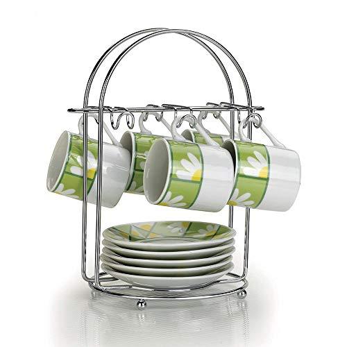Suporte para Conjunto de Café de Aço Cromado, Capacidade para 6 Pires/Xícaras 13x21x21,5cm - Arthi