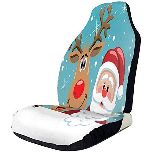 Alice Eva Sièges d'auto Couverture Santa Cartoon Rouge nez Nus Renne De Noël Sièges Avant Couverture Auto Seat Protector pour SUVs