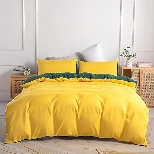 Juego de Funda Nordica 100% Microfibra Reversible Cama 135/150 Suave Fundas Nórdicas Color Sólido Funda Edredon 220x240 cm y 2 x Fundas de Almohada de 50x70 cm, Amarillo / Verde Azulado